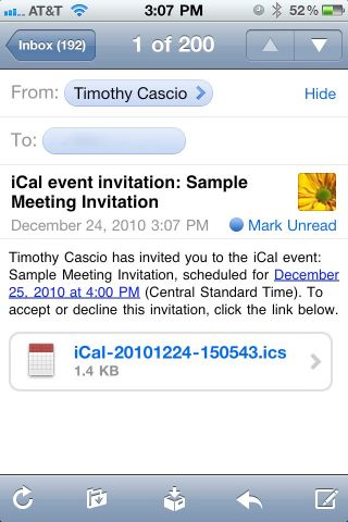 iPhone Meeting Invitations