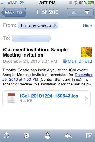 iPhone Meeting Invitations