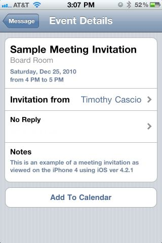 EMail Meeting Invitation